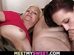 His cute girlfriend gets fucked...