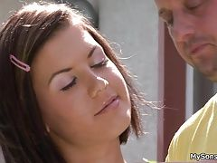 Lovely girl takes not father in...