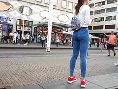 Girl wait for tram 9