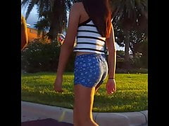 Cute Teen in Blue Shorts and...