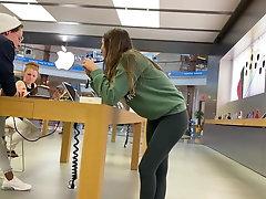 Candid Teen In Leggings At Apple...
