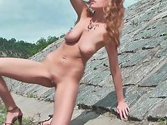 Sexy Busty Babe Nude Outdoor