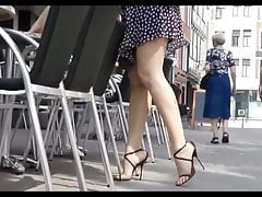 Slutty heels in public slow motion