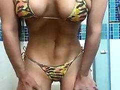 Cute and sulty girl in bikini...