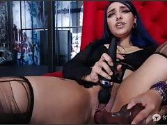 Goth Masturbation with dildo and...