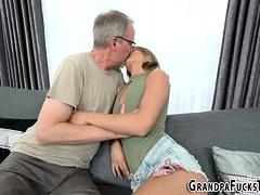 Teen gets grandpas jizz
