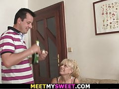 Blonde mom and old dad have fun...