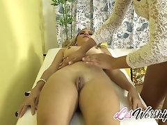 Ebony Teen Massages a Sexy MILF...