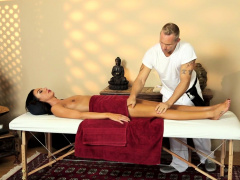 Filmed massage babe tugging and...