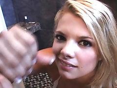 Bikini blonde amateur milks cock...