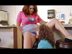 Busty redhead mature waitress...