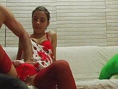 Brunette Teen  In Red Stockings...