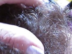 Extreme hairy bush in close up