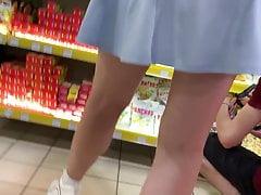 Upskirt front white panties...