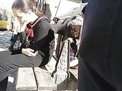 Curious Cute Girl Checking Bulge