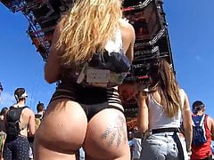 Candid rave blonde girl with...