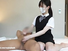 Japanese office lady gives a guy...