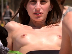 Sexy lass Topless Beach Voyeur...