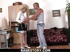 Blonde in white stockings takes...