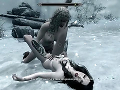 Lesbians fuck in the snow in skyrim