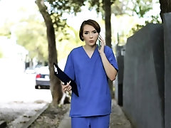 Nympho nurse Natalie helps...