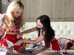 Lesbian cheerleaders in short...