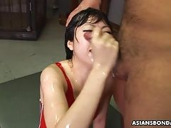 Asian sexy babe getting four...
