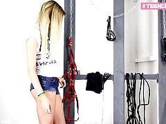 18 YO teen slave gets ass...