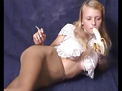 Teen puts on pantyhose and smoking