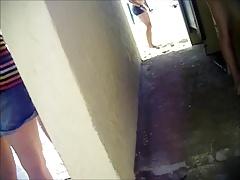 girl pee il public men toilet