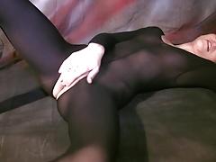 Teen girl in opaque bodystocking