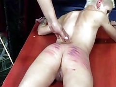 Strict Lady caning hard...