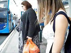 Big boobs bus stop