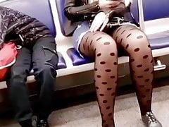 Teen upskirt on train
