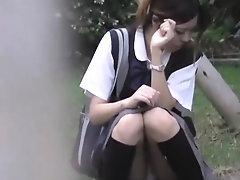 Japanese Teen Night Outdoor...