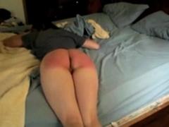 Rain of strokes on her slutty butt
