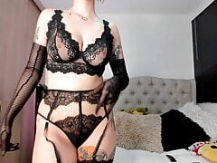 Sexy Latina in black lingerie is...