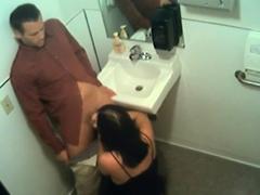 Toilet slut eats dick