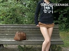 teen upskirt in public park