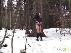 Raven Haired European Pees In...